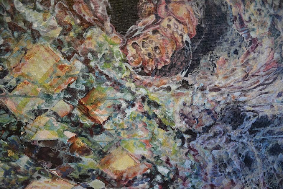 Geminate - Geminate (close up), acrylic on Canvas, 3' x 4', 2014.