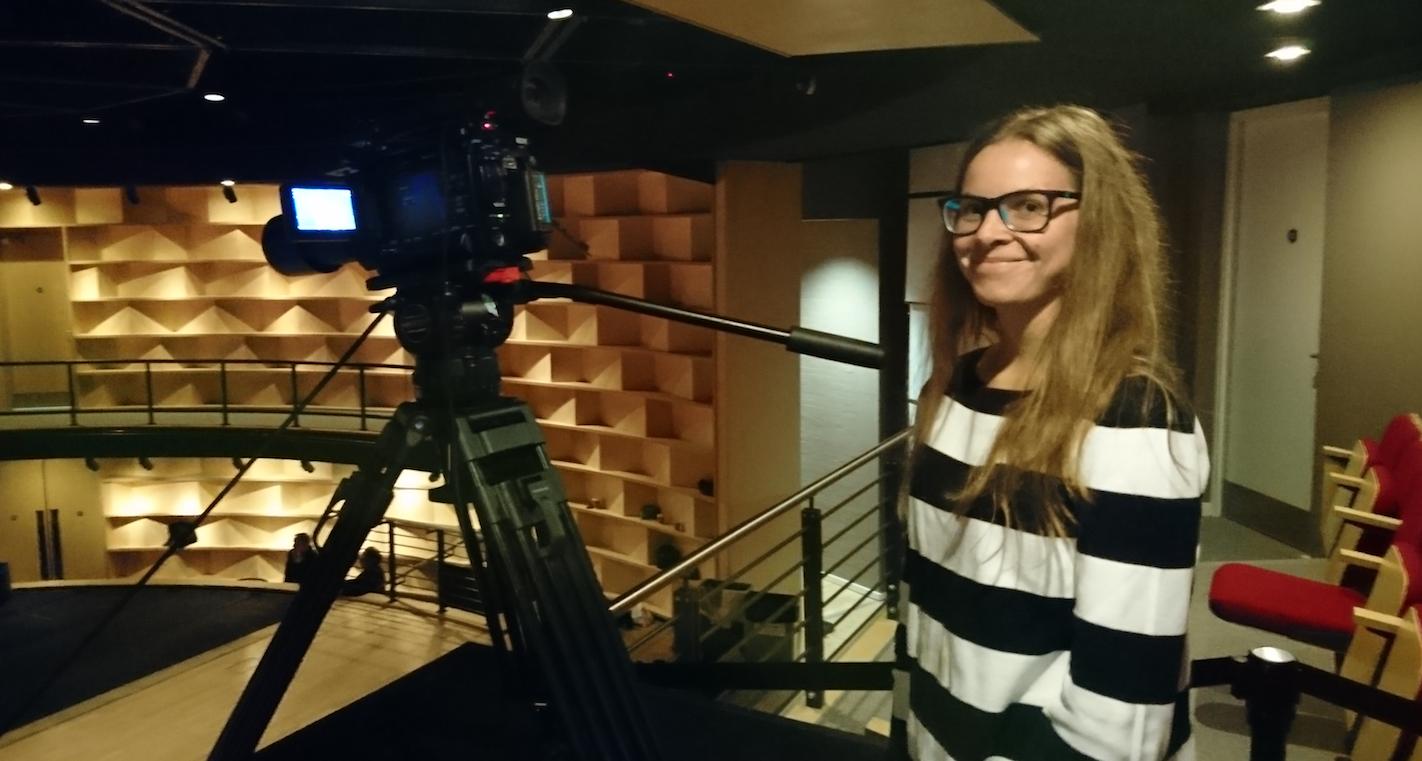 Rebecca filming at the Attenborough Centre for Creative Arts