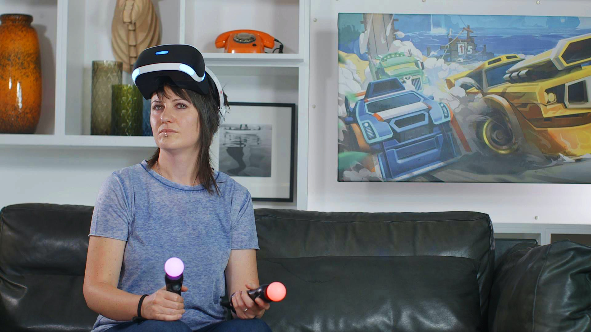 Actor Jodie Fink between takes on Big Egg's Futurlab trailer shoot, wearing Sony Playstation VR headset