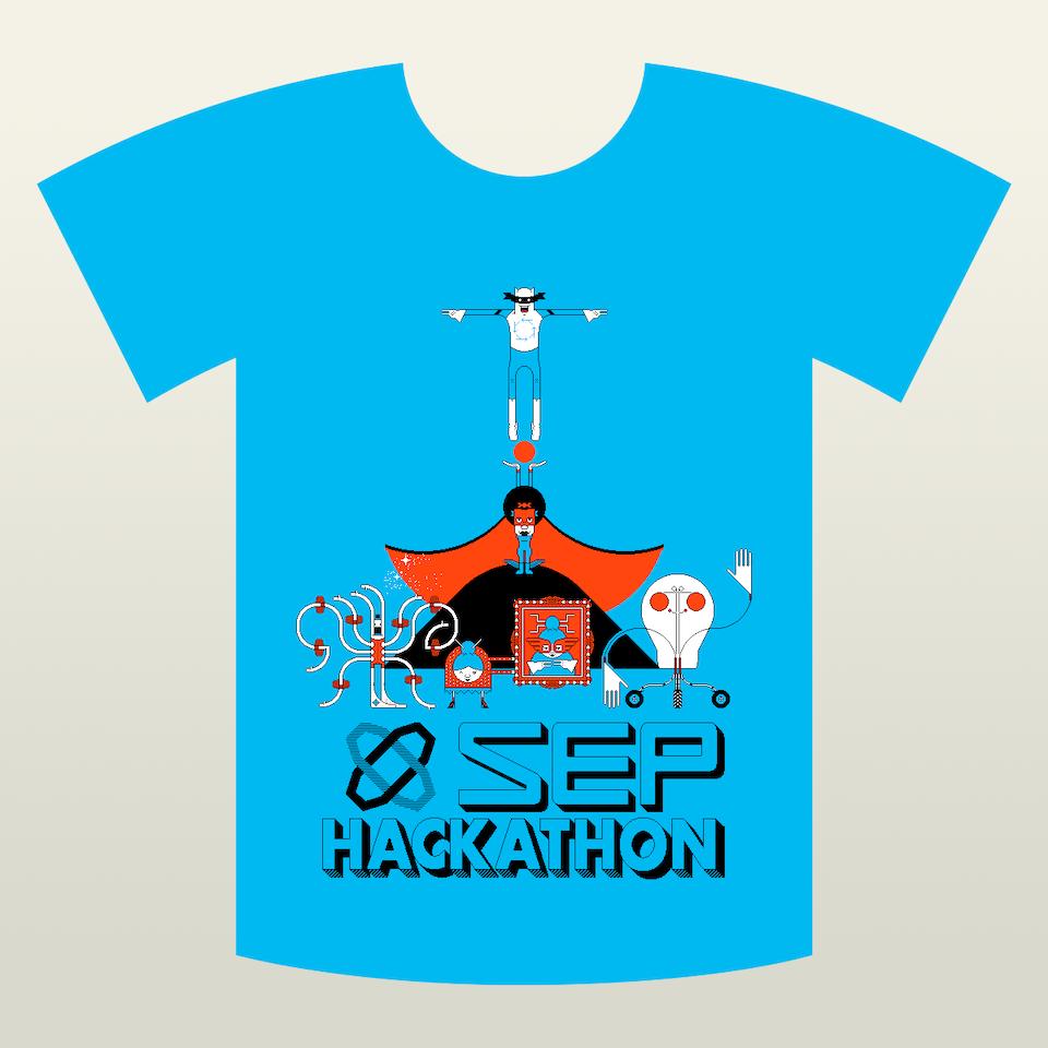 SEP Hackathon t-shirt-blue-placement