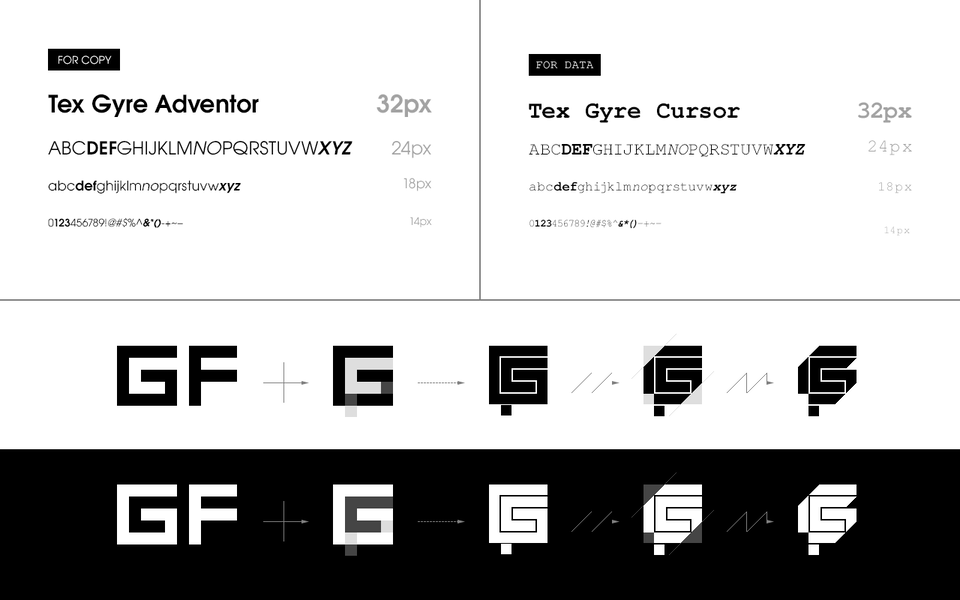 Type, Iconography and Design Language gmfrmr-01-typefaces-logo_evolution