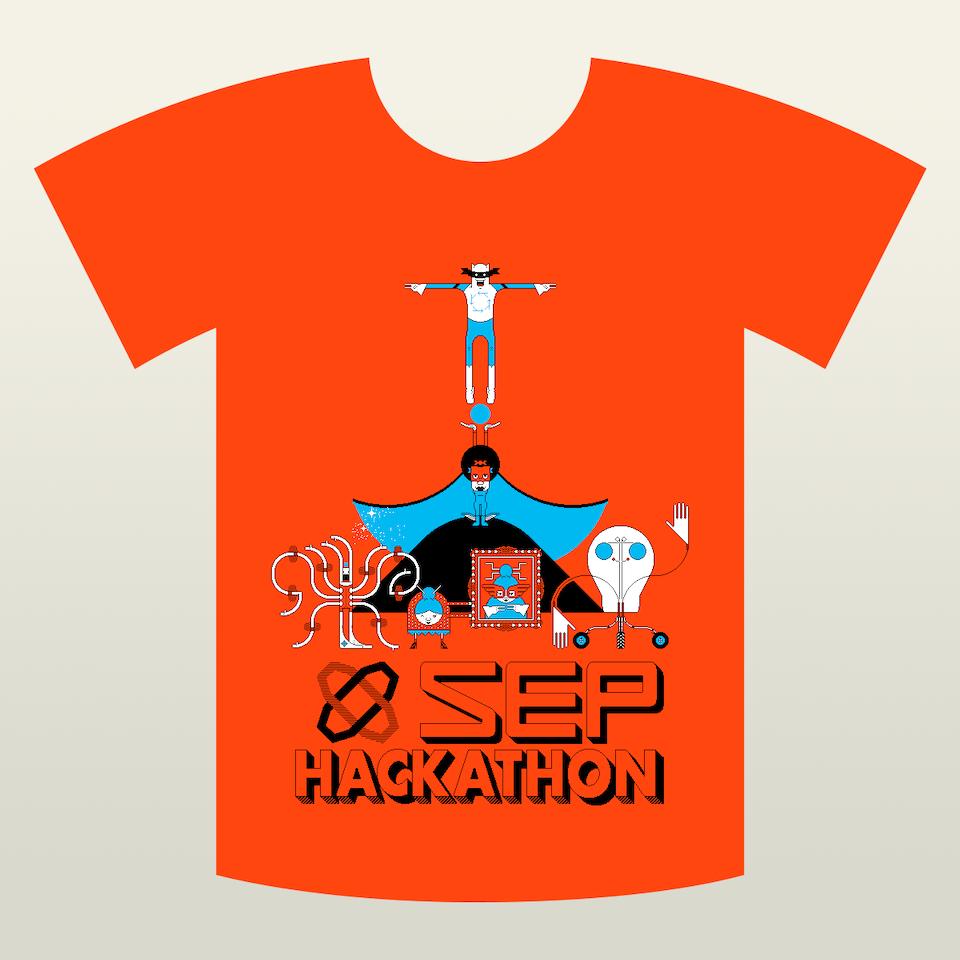 SEP Hackathon t-shirt-orange-placement