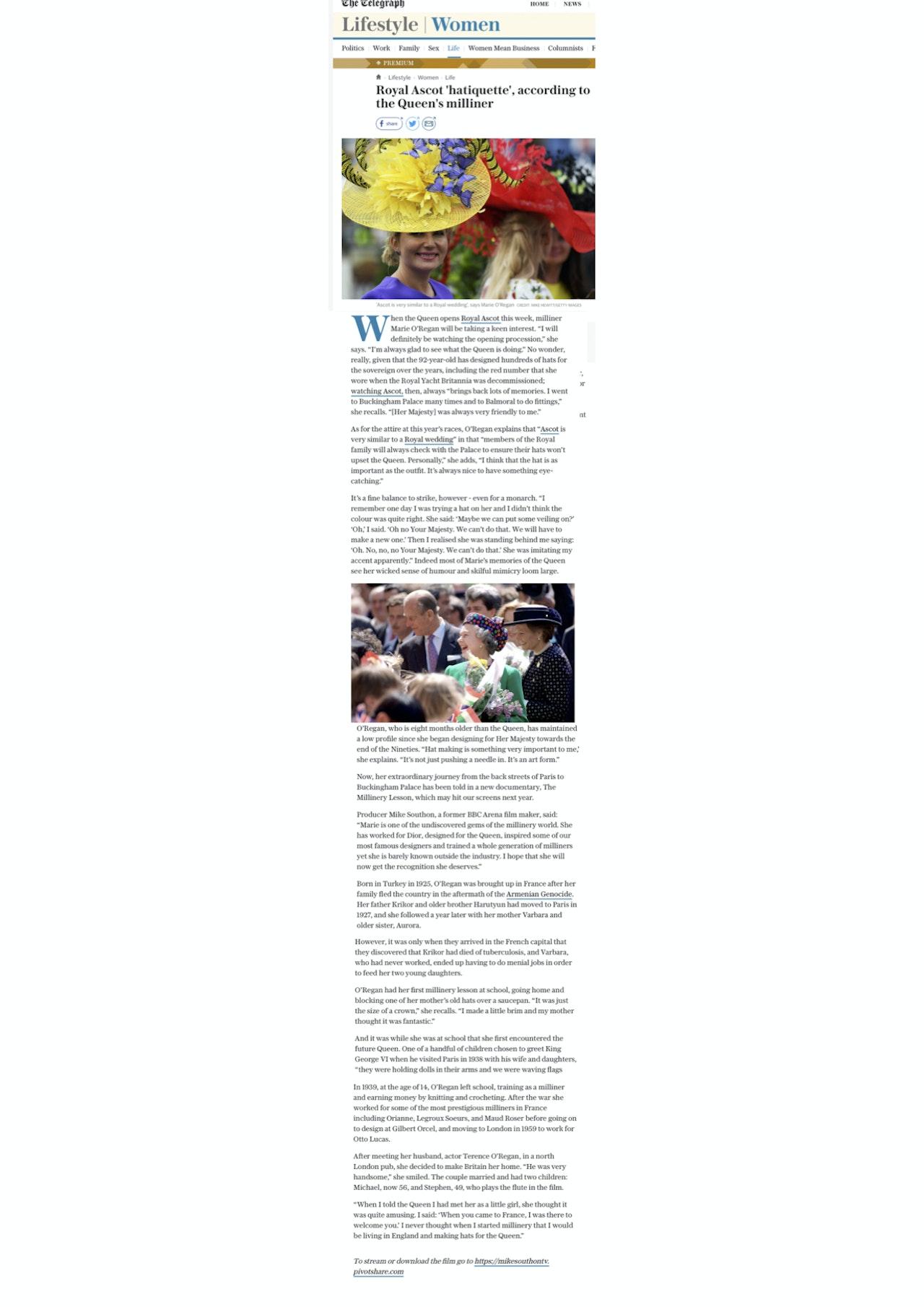 marie telegraph article