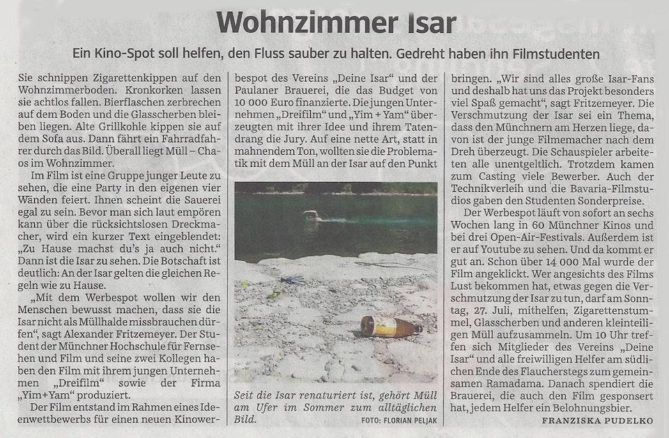 Die SZ schreibt über unseren DEINE ISAR-Spot!