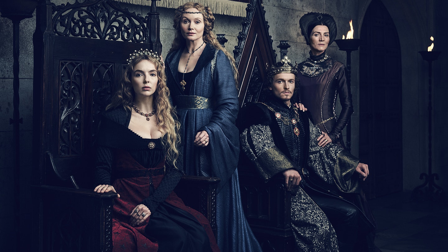 2 _ Jodie Comer (Elizabeth of York), Essie Davis (Dowager Queen Elizabeth), Jacob Collins-Levy (King Henry VII), Michelle Fairley (Lady Margaret Beaufort) copy