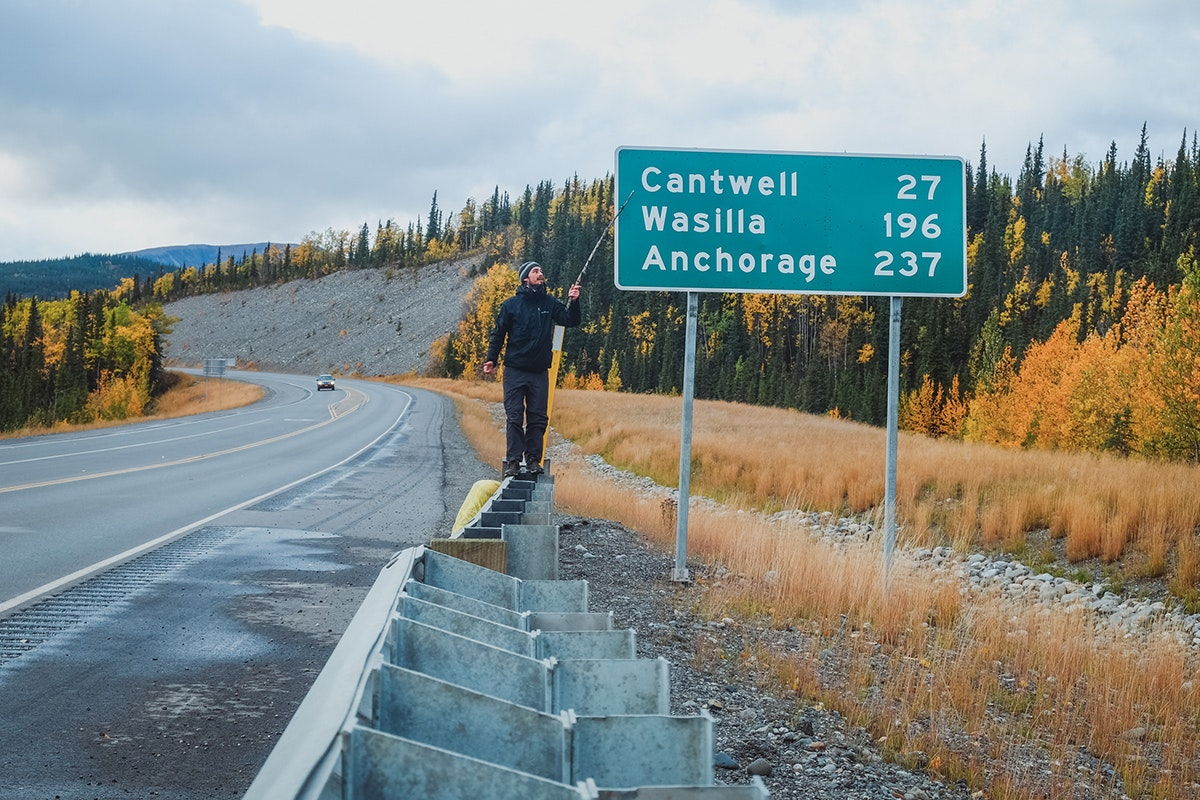 Hitchhiking out of Denali National Park in Alaska