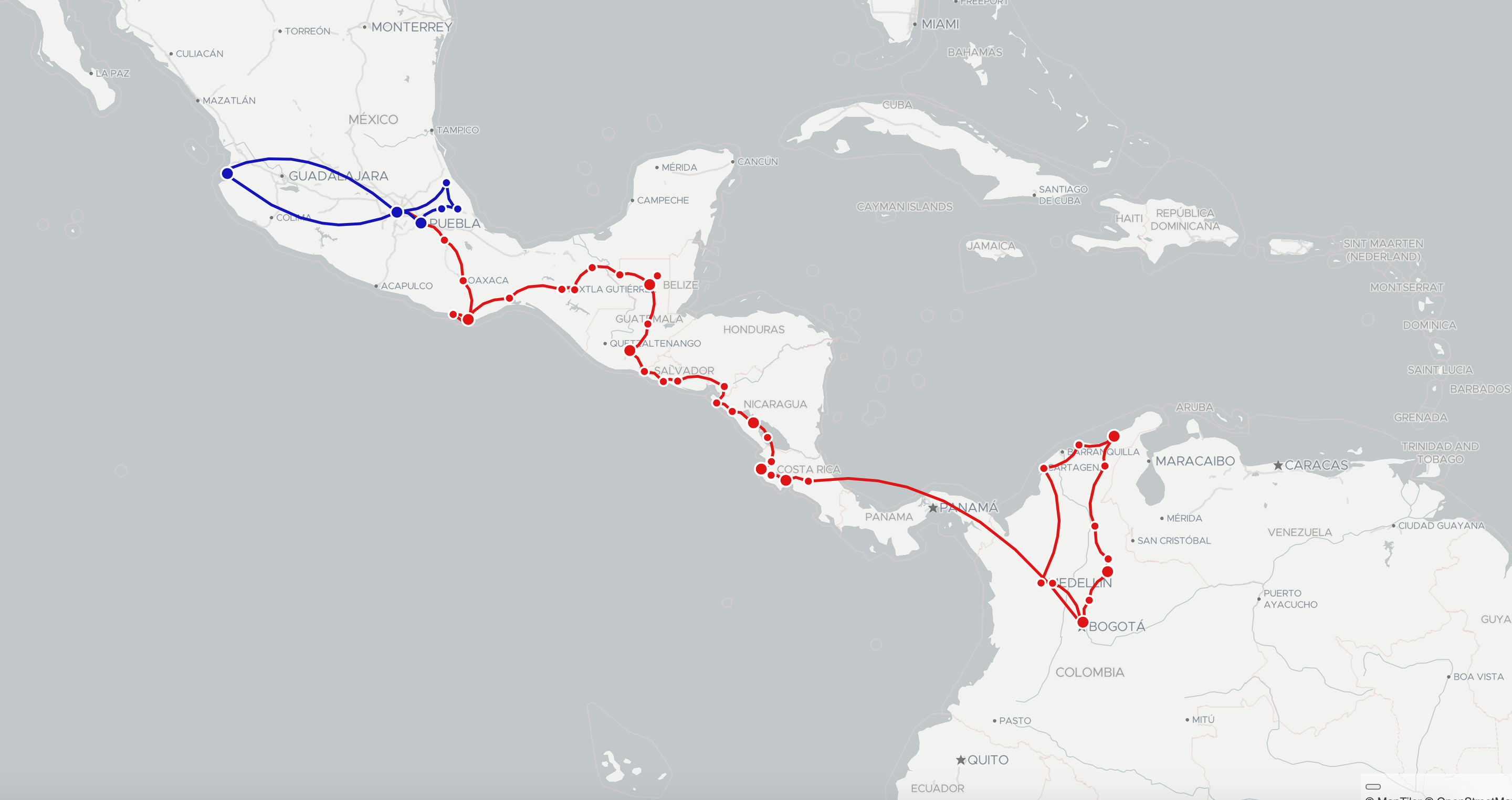 latin america by bicycle route map
