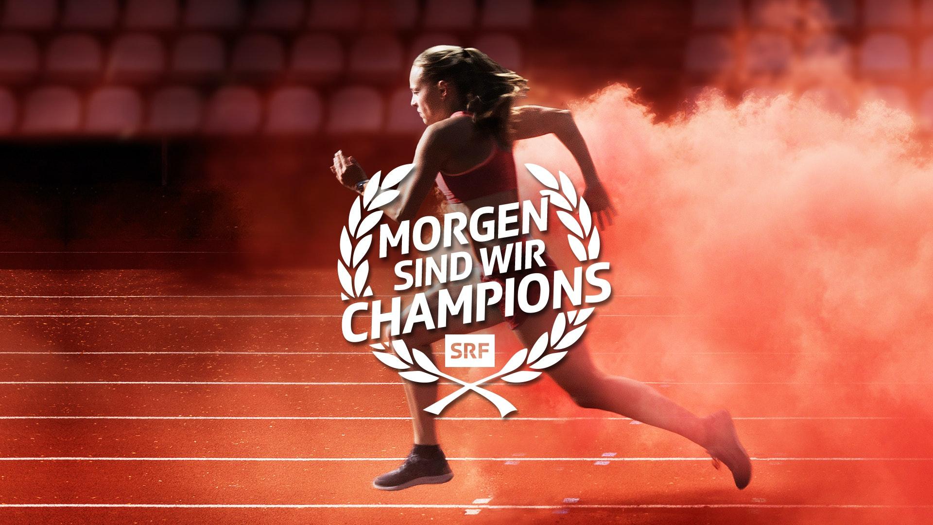 Morgen sind wir Champions Leichtathletik Frau Keyvisual mit Zusatz MASTER