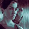 Podcasts - Portrait of Ruta Gedmintas as Serafina Pekkala (with her accompanying Daemon) from the HBO/BBC adaptation of His Dark Materials.