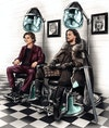 Editorial - Timothée Chalamet and Kit Harrington/Jon Snow at the barbers for GQ (via Central Illustration Agency).