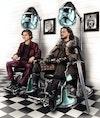 Editorial - Timothée Chalamet and Kit Harrington/Jon Snow at the barbers for GQ (via Central Illustration Agency). AD: Anna Gordon.