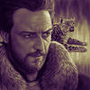 Podcasts - Portrait of James McAvoy as Lord Asriel (with his accompanying Daemon) from the HBO/BBC adaptation of His Dark Materials.
