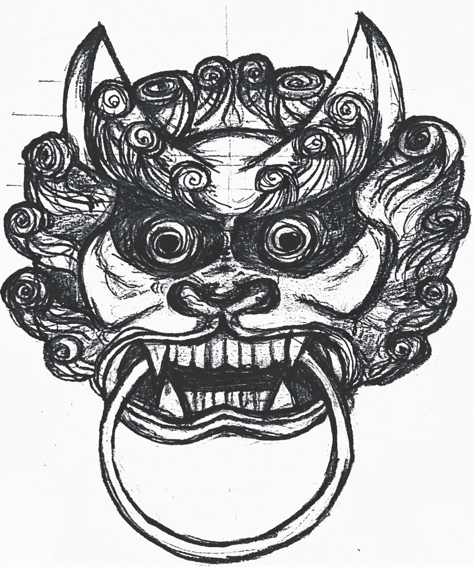 Dailies - Ornate Tiger - Door Knocker, Initial Sketch (Graphite, Scanned Into PS)