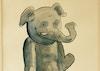 Shy elephant - tegning i akvarel og blæk