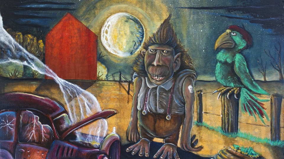 Tweeter and the monkey man - Oilpainting