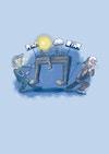 Brødrene Dur & Mol - Illustration til børnebogen hvor man kan se de to brødre Dur og Mol, illustrationen bruges som en inderside i bogen.