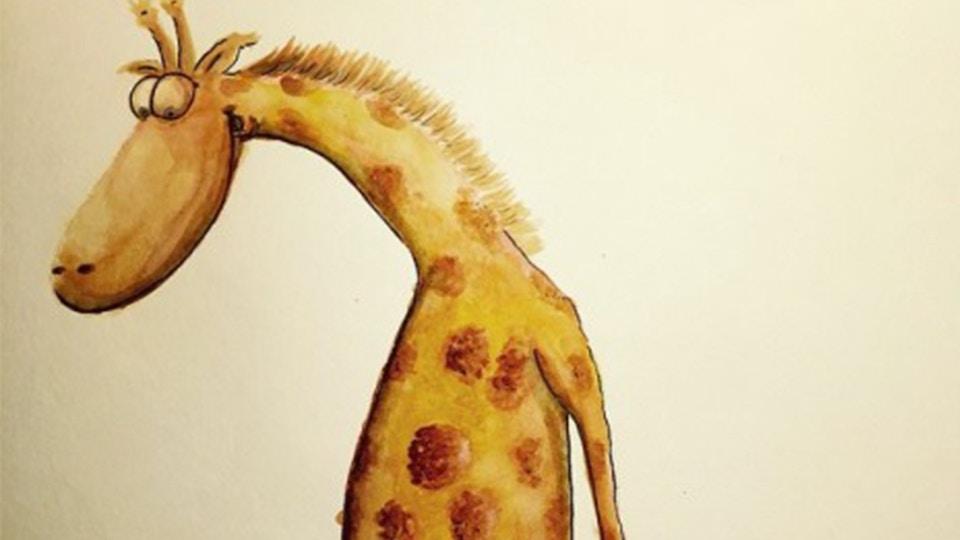 Lost giraphe - tegning i akvarel og blæk