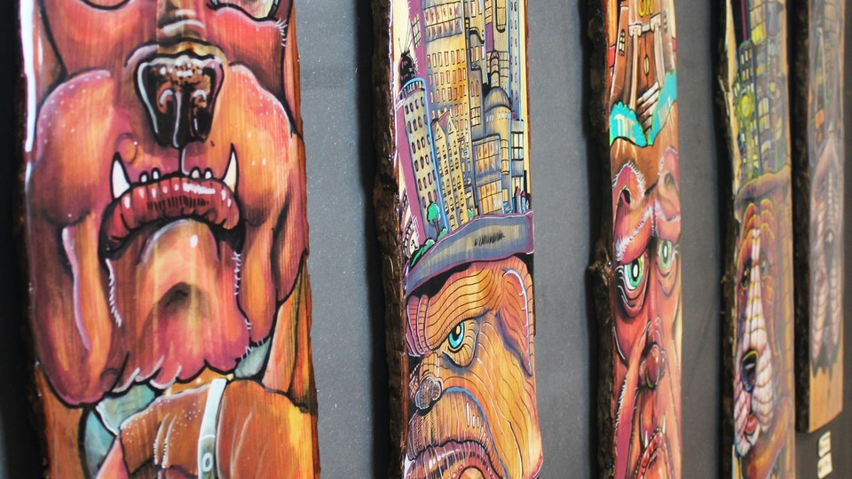 City dogs - Illustrations on wood