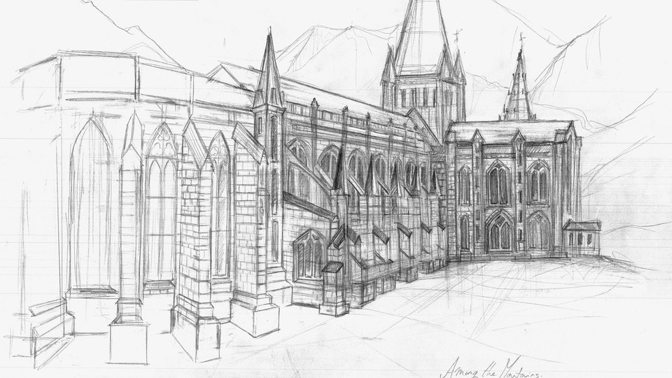 Sketchbook - Cathedral, Drawing in Graphite