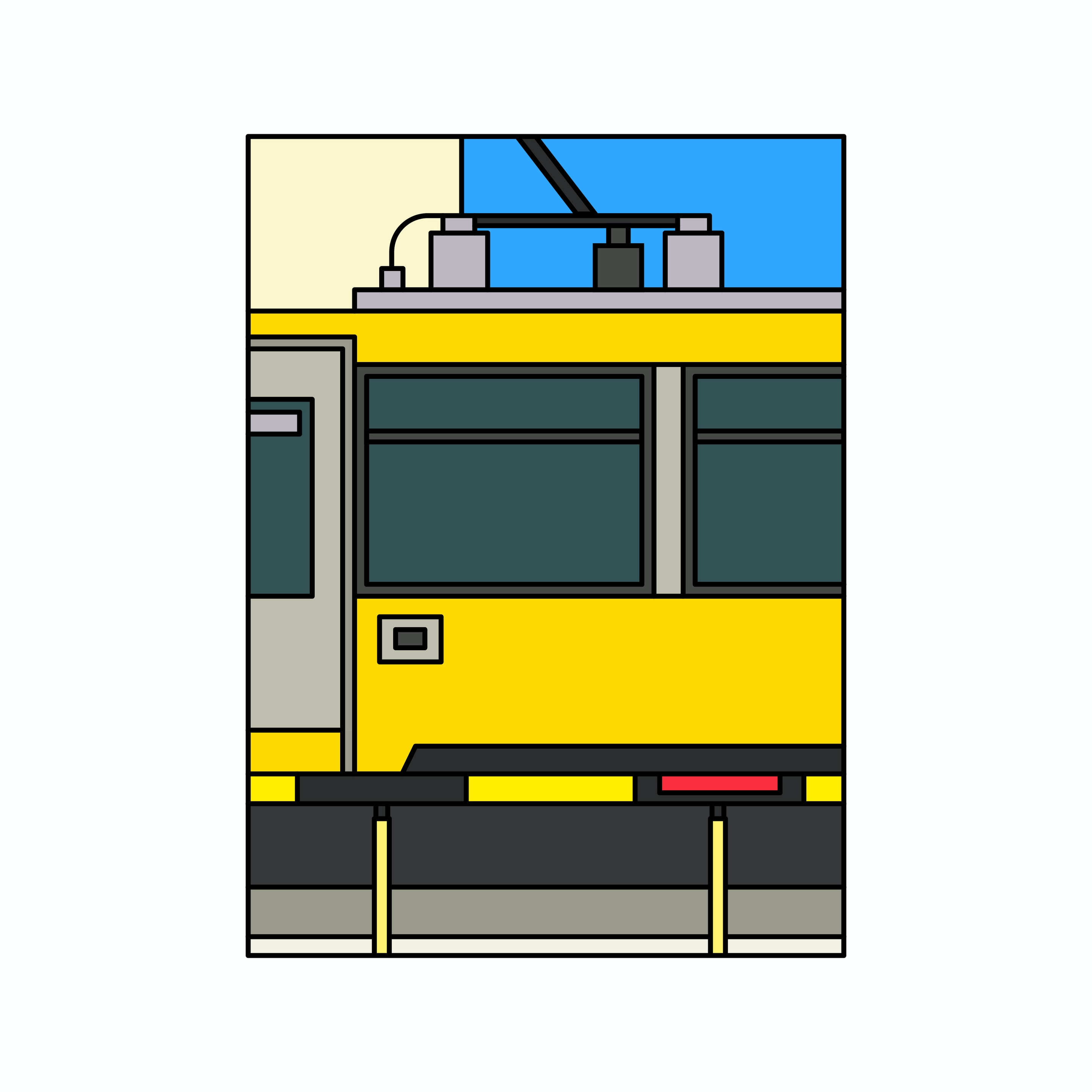 BloodBros. Illustration - tram setagaya-