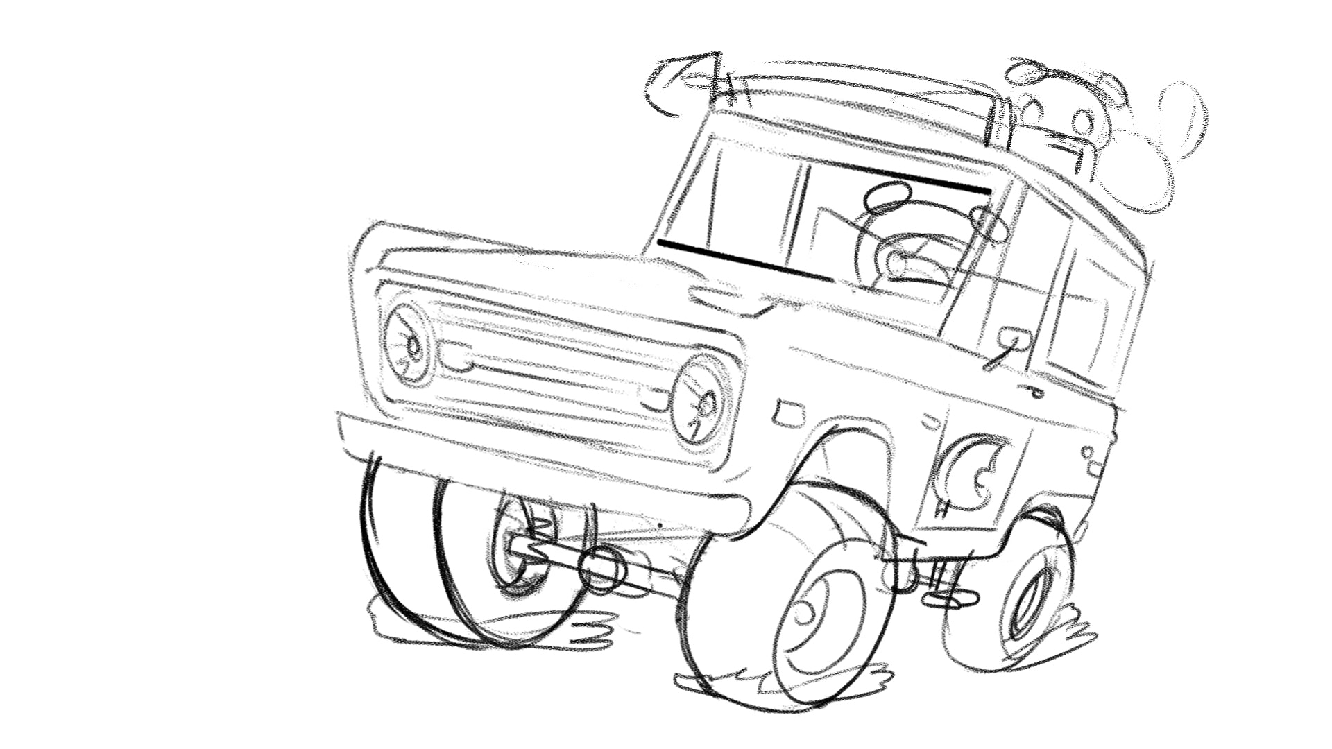 BloodBros. Illustration - 2 Bronco angle sketch
