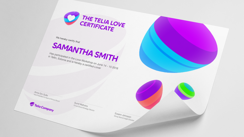 Telia Company - The Telia Love workshop certificate