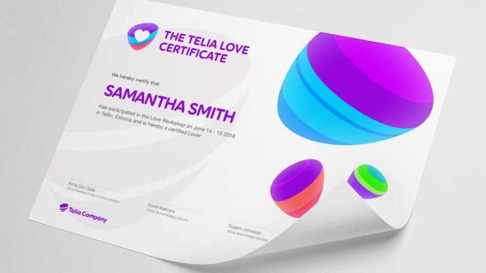 Telia Company - The Telia Love workshop certificate