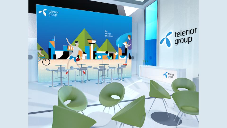 Telenor Group - Lobby mockup of wall