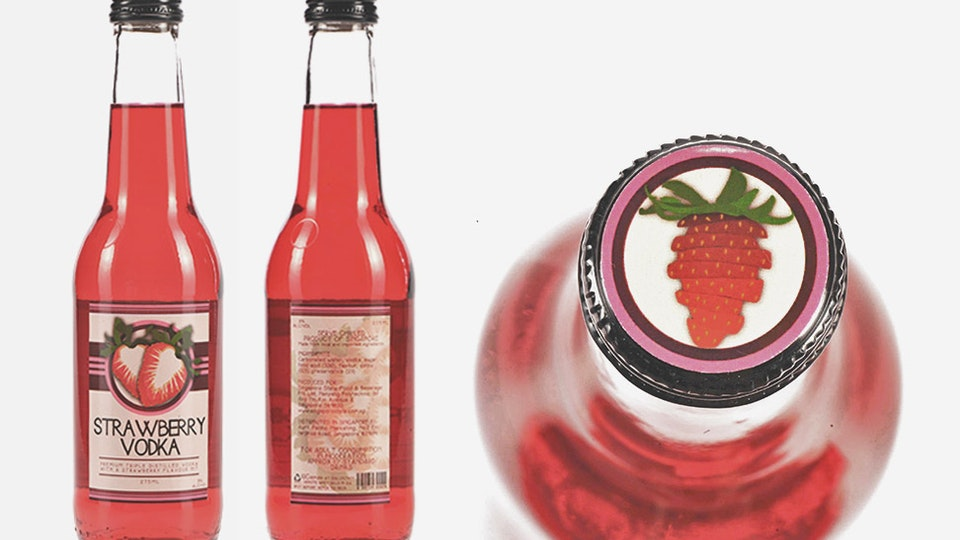 Strawberry Vodka - Bottle Label Design