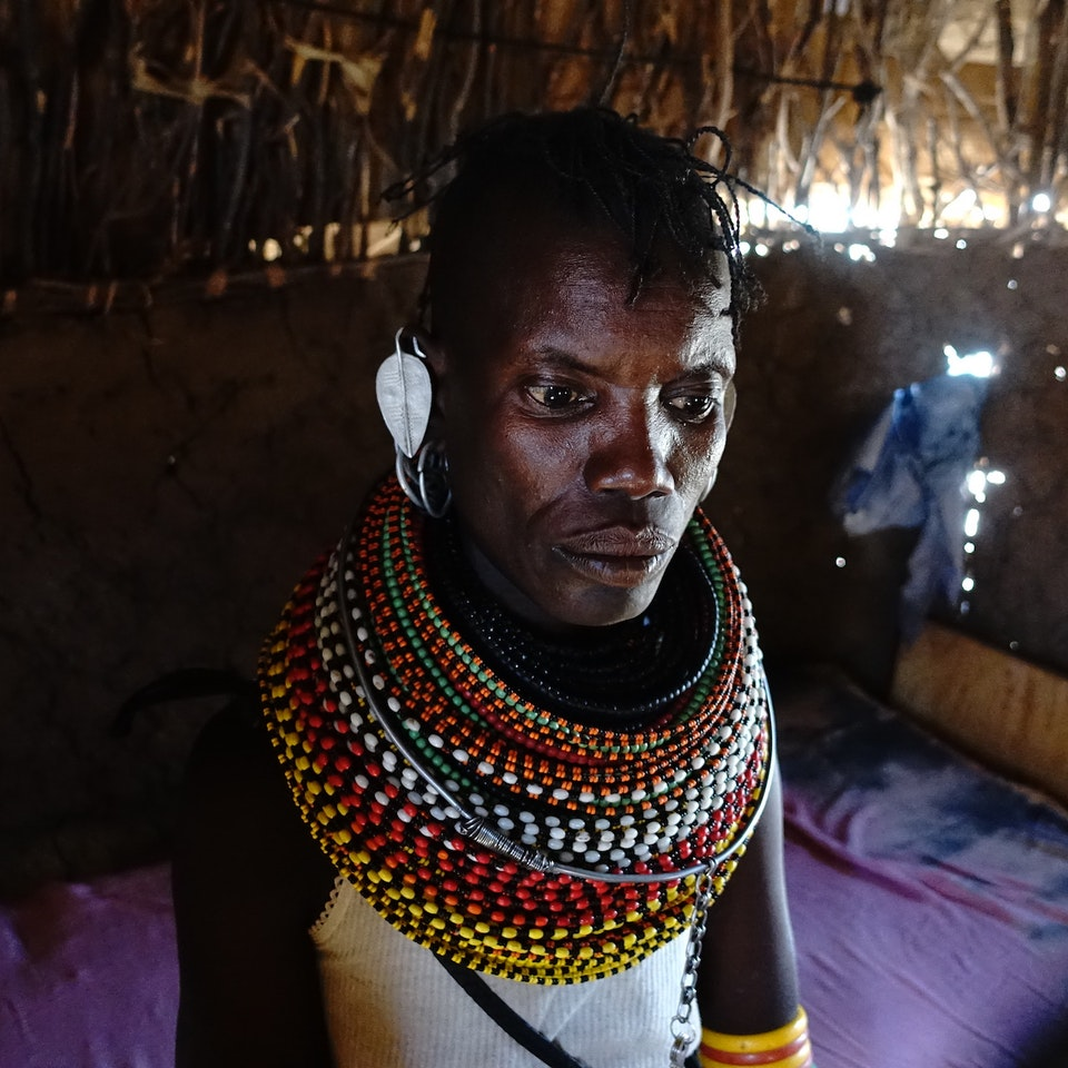 Lake Turkana Wind Power Woman in manyatta
