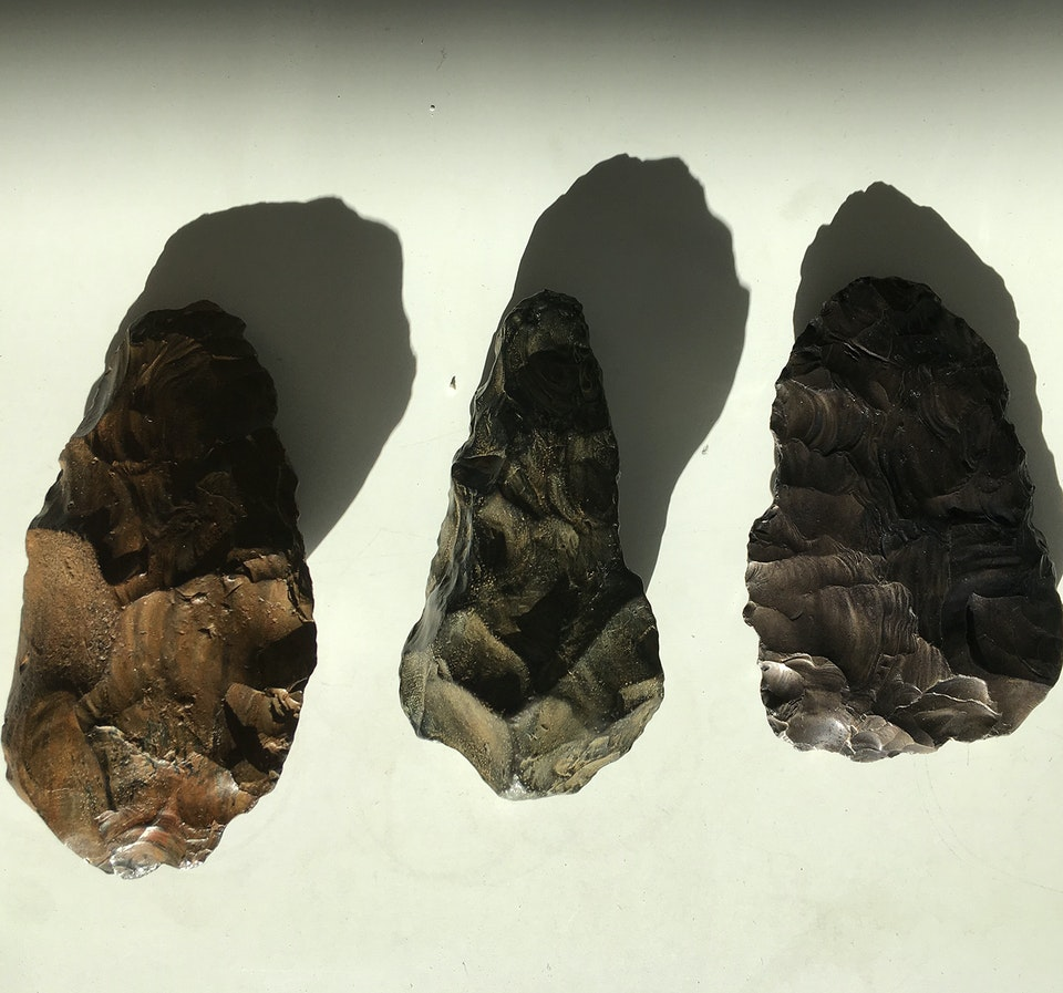 Chrononaut - L-R: Neanderthal Biface, from private collection, Iron.  Lower Paleolithic Biface, Museum Of London, Iron.  Neanderthal Biface, from private collection, Iron.