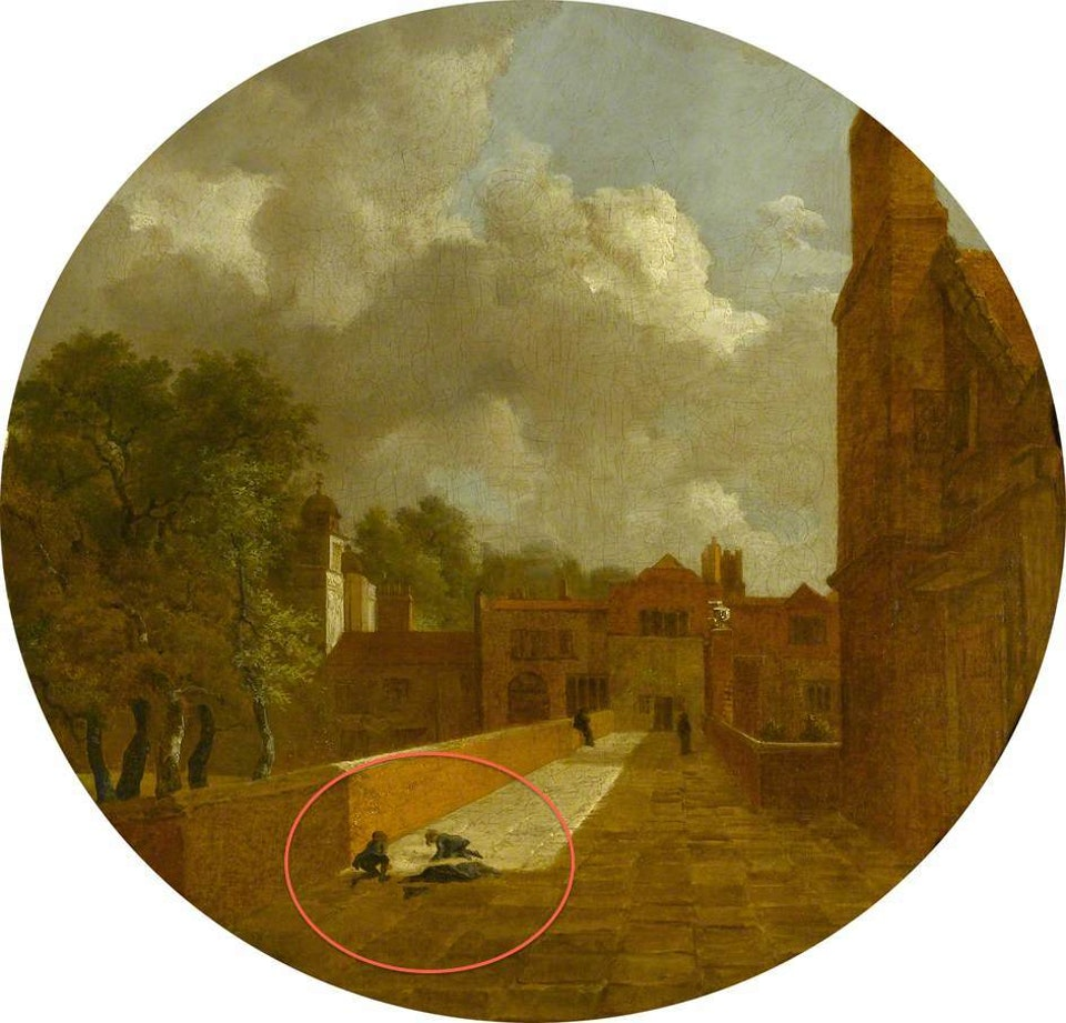 Clūds - Children play marbles on the flagstones under a conspicuously cloudy sky, in the foreground of Gainsborough's The Charterhouse (1748)