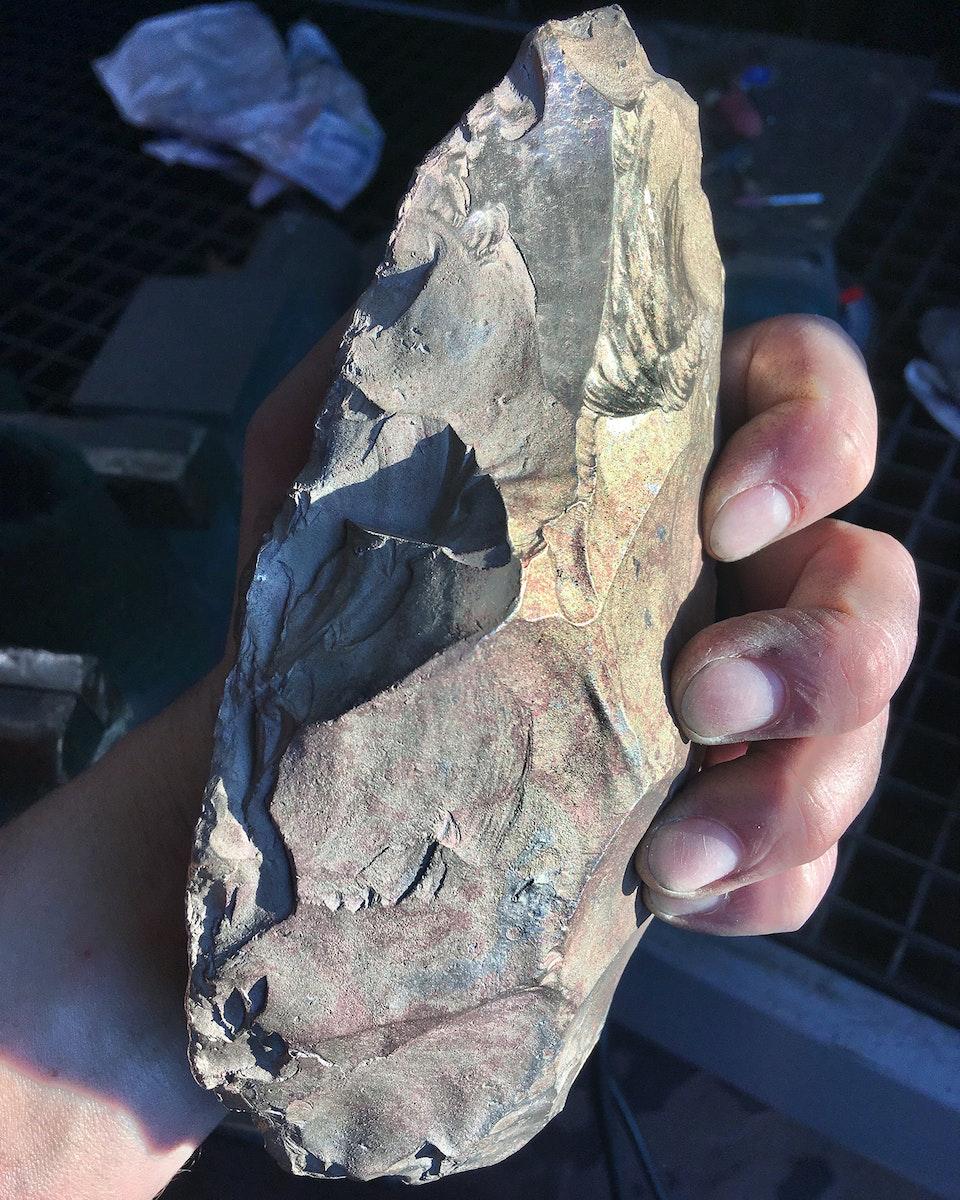 Chrononaut - Neanderthal Hand Axe Lynford, Norfolk.  Bronze.
