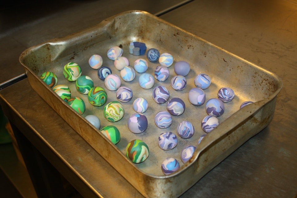Clūds - Polymer clay marbled samples ready for the oven