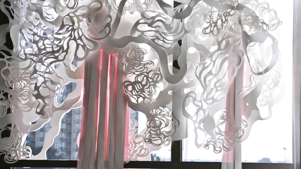 site specific - hand cut paper & acrylic