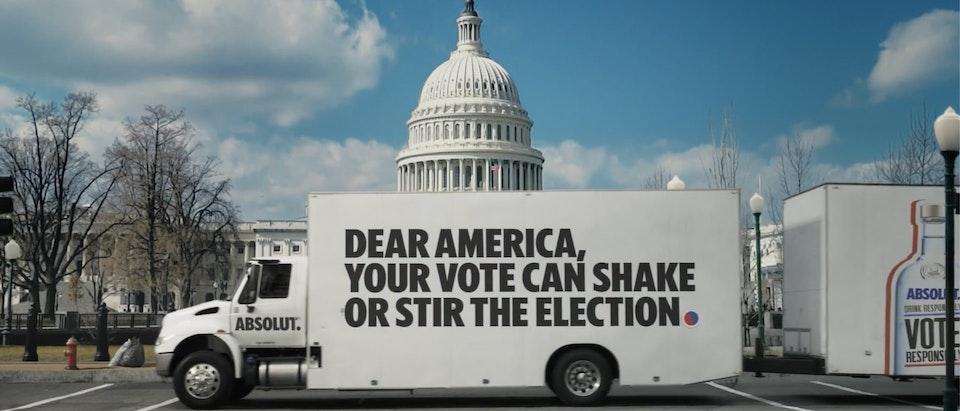 "Absolut Vodka - ""Drink Responsibly. #VoteResponsibly"""