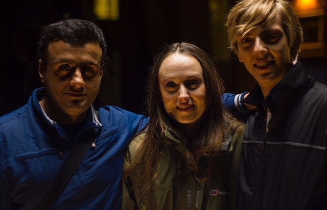 Shekhar Bassi with actors Scarlett Brookes and Joshua James on the set of NO LOVE LOST