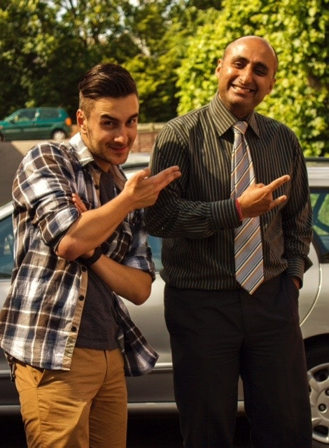 Shalinder Bassi with second A.D. Darren Baba on the set of NO LOVE LOST