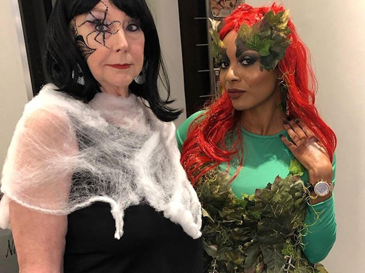 We're both serving face. Yo... what's good. I love my clients! ❤️❤️❤️ #servingface #bothofus #halloween #halloween2019 #poisonivy #redhead #spiderwoman #myndspa @myndspa #transformation #sfx sfxmakeup #dallashalloweenmakeup #spiderwomanmakeup