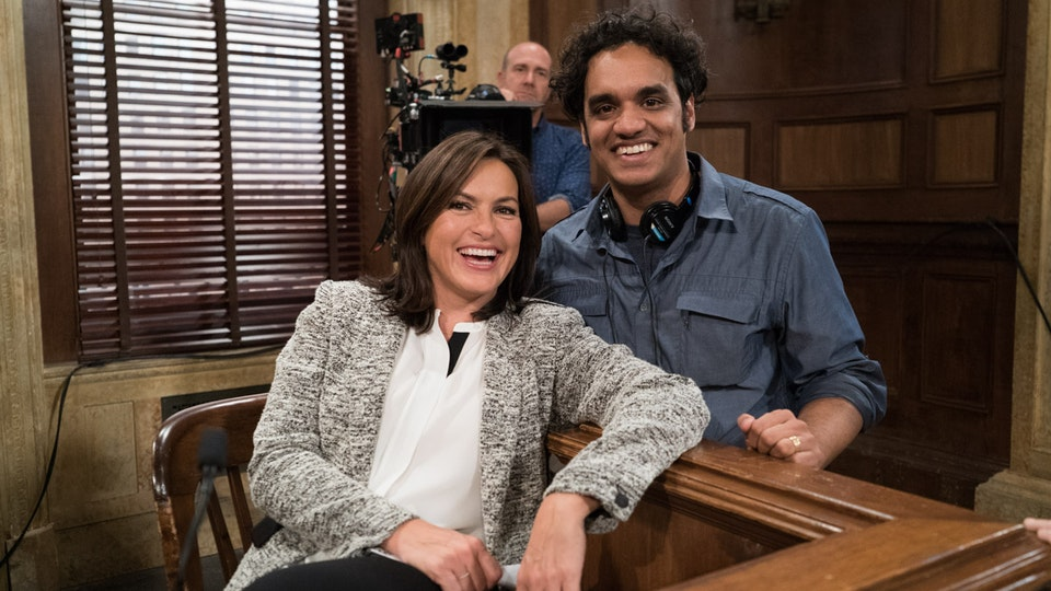 Law & Order: Special Victims Unit - Mariska Hargitay and Sharat on the set of Law & Order: SVU, October 2014. With camera operator Jon Herron.