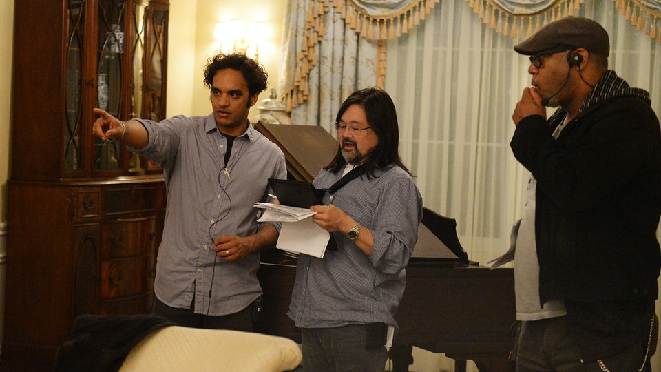 Scandal - Sharat working with Director of Photography Daryn Okada on Scandal Episode 512, December 2015. (Courtesy of Mitchell Haddad)
