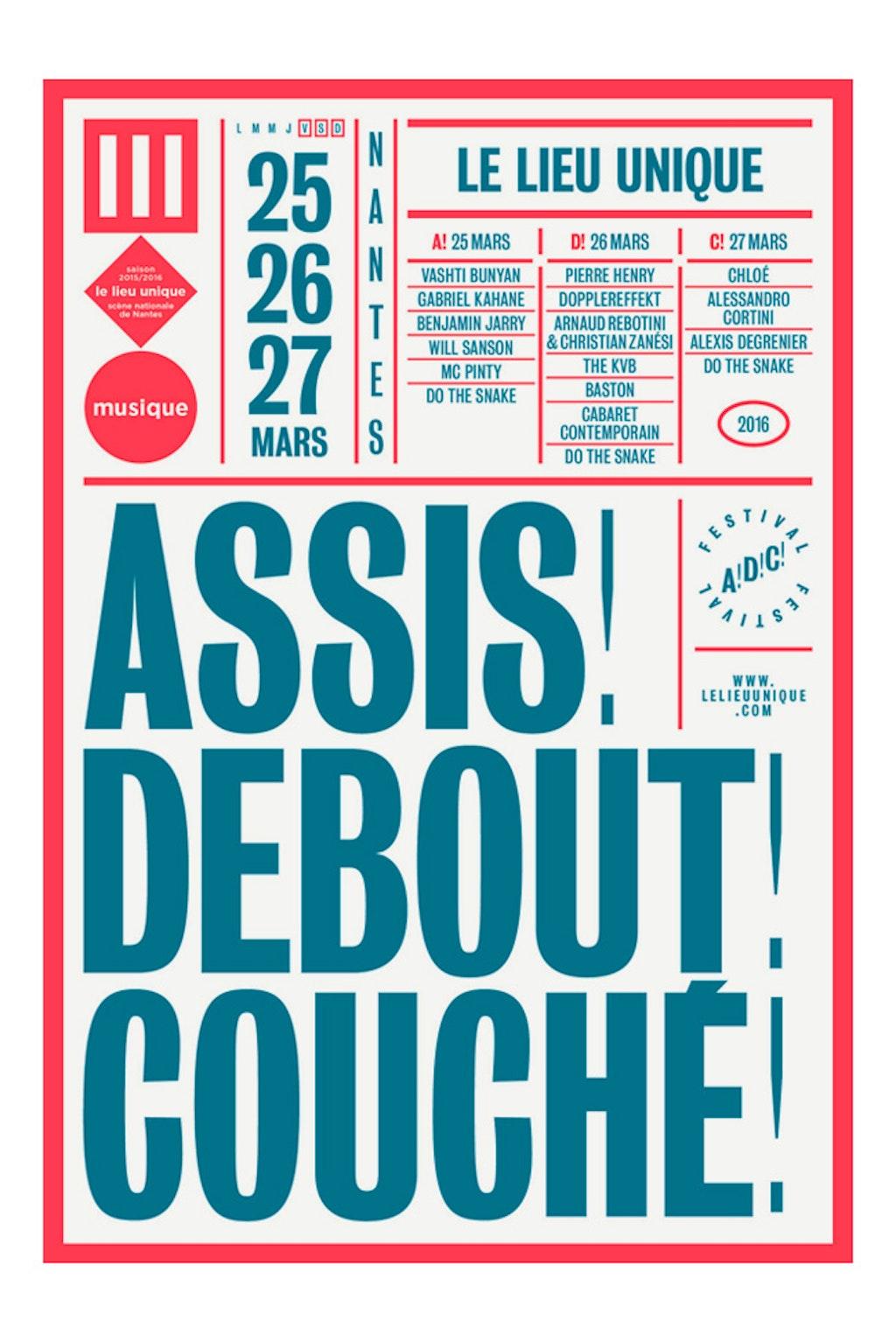 festival Assis! Debout! Couché! / Lieu Unique (Nantes)
