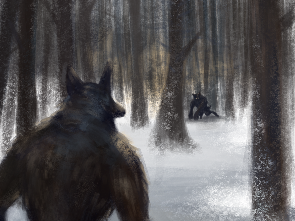 """Illustration - """"Of Werewolves and Birthday Parties"""" 2019. Digital. Uncaged Anthology."""