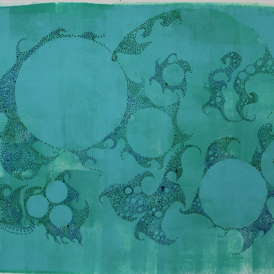Tidal 2016 Ruth Hamill, 2917, Tides of Life II , silk-screening, relief-printing and calligraphy inks on paper (19.7105)