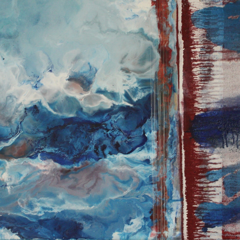 2013-2015 Divided Fourth of July, Encaustic and Diluted Oil with Fishing Line on Linen, 20x38