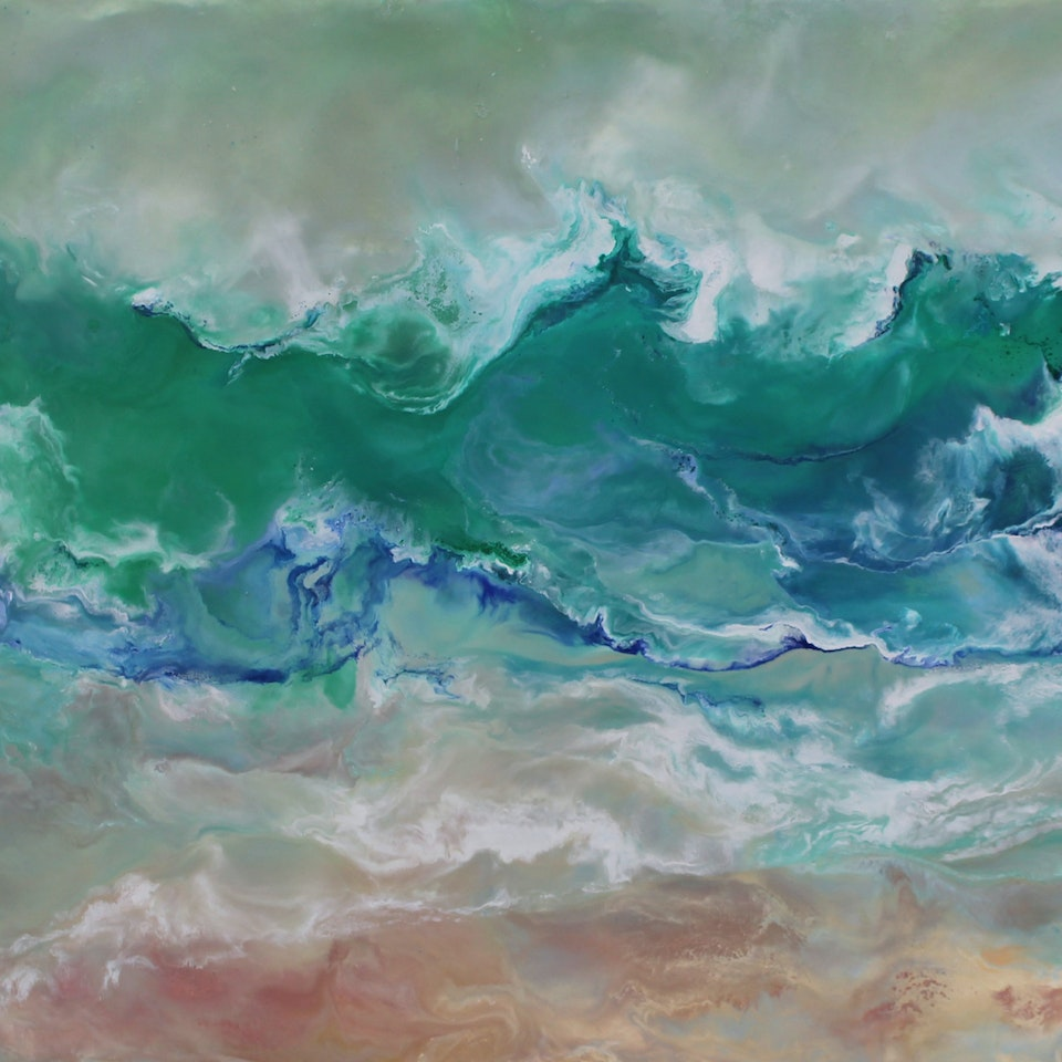 On Canvas Ruth Hamill, Lucky Day, 20x38, encaustic on canvas, $3800
