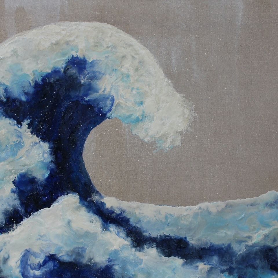 Chicago 2020 Ruth Hamill 300, The Wave (Ode to Hokusai), 40x60, encaustic and oil on linen, $7400