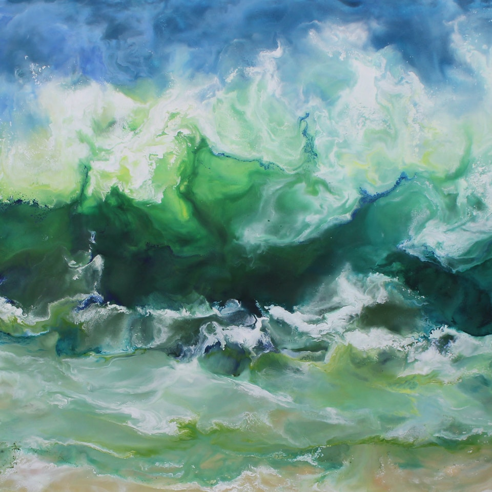 At the Shore Sun Drenched, 24x52, encaustic on canvas