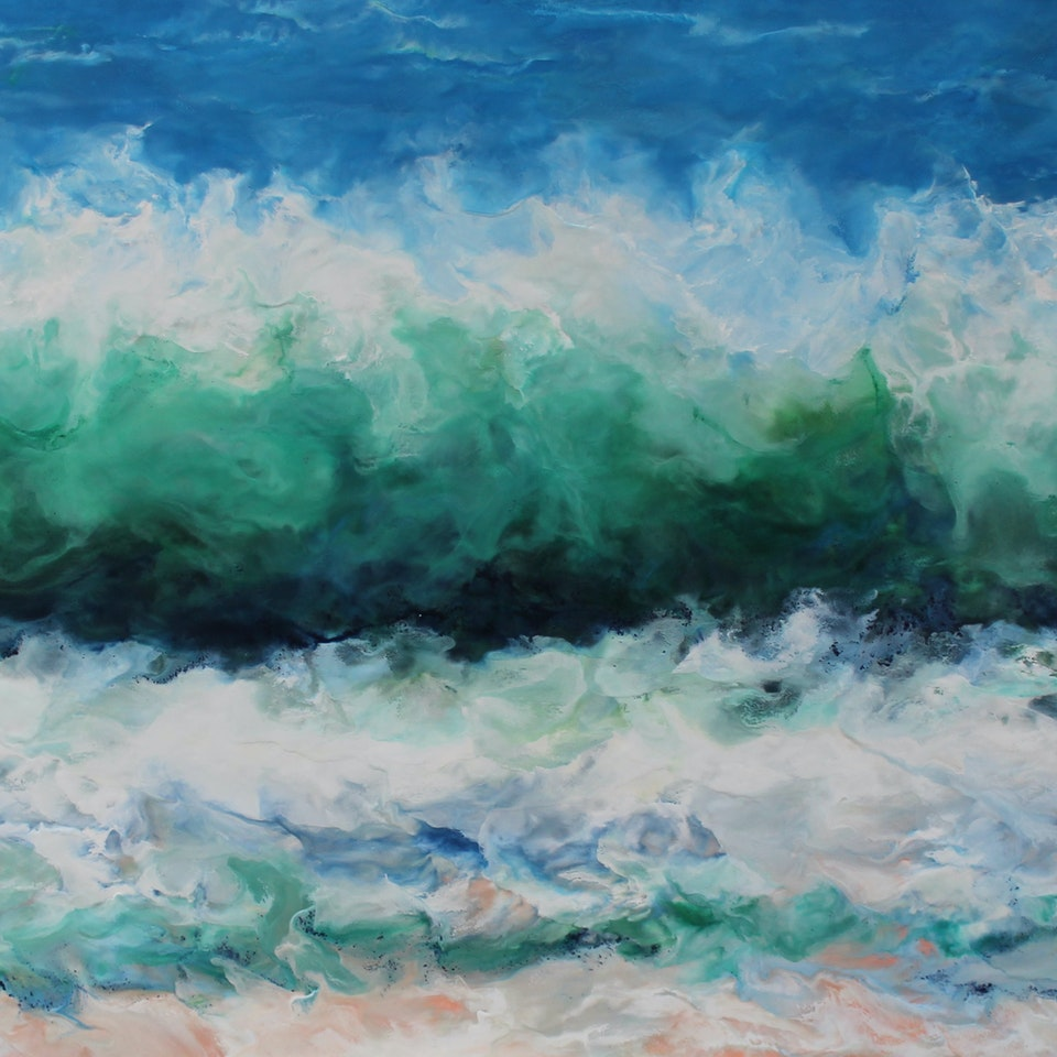 At the Shore Breeze, 44x84, encaustic on canvas, hi res