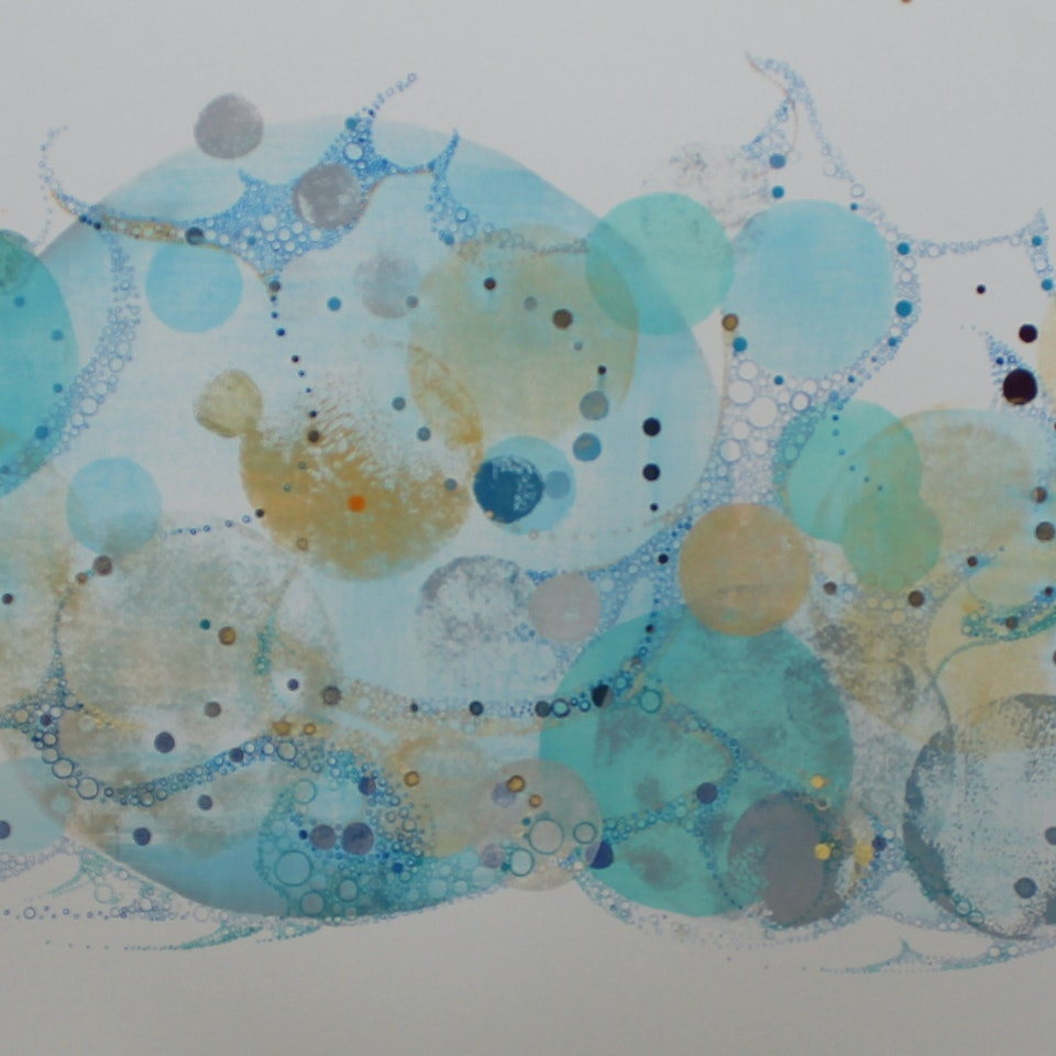 New Work on Paper Ruth Hamill 300, Sun and Sea, 20x60 framed, ink, relief printing, gouache, watercolor on paper, $6300